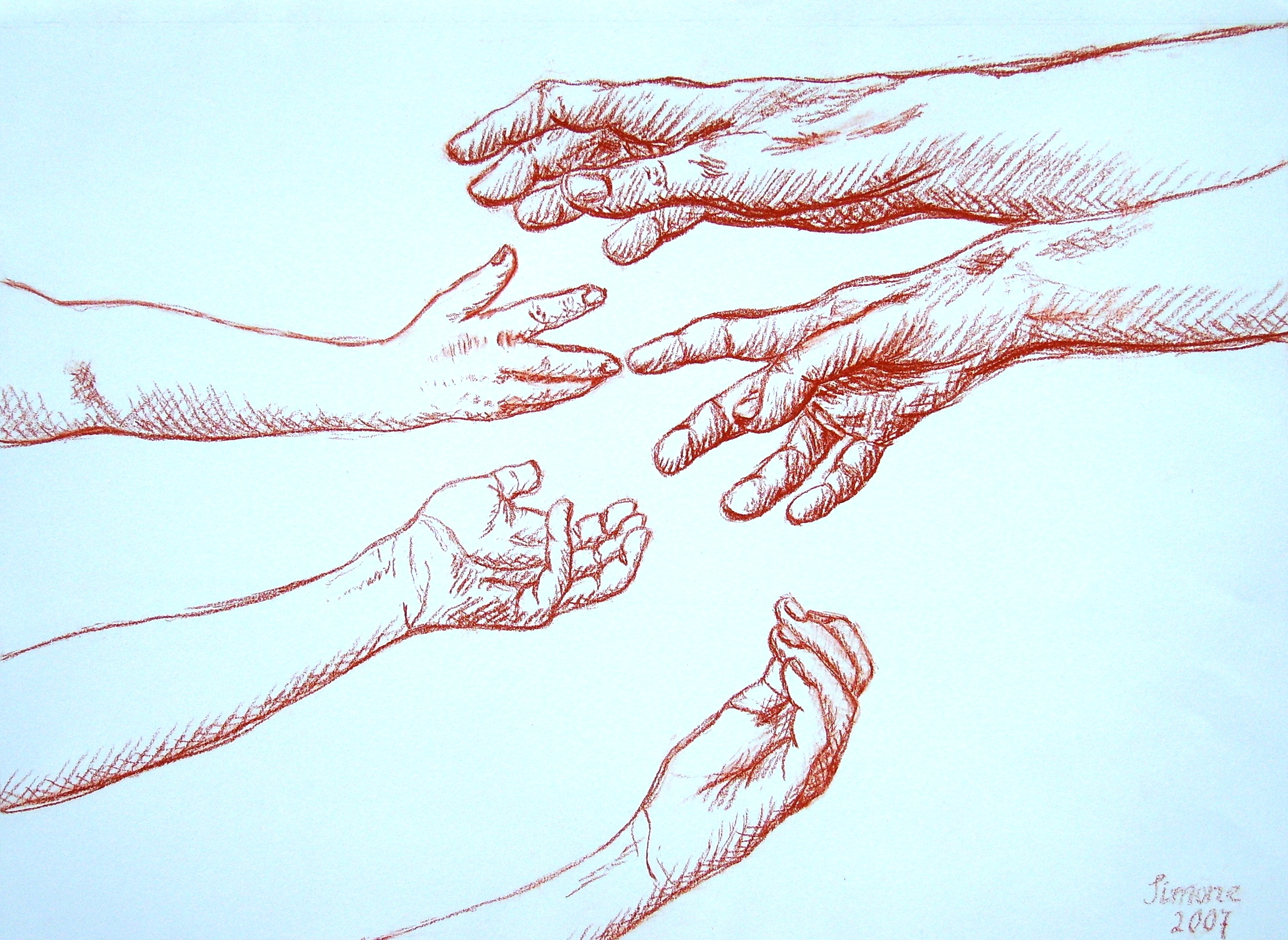 My family, inspired by Michelangelo, conté crayon