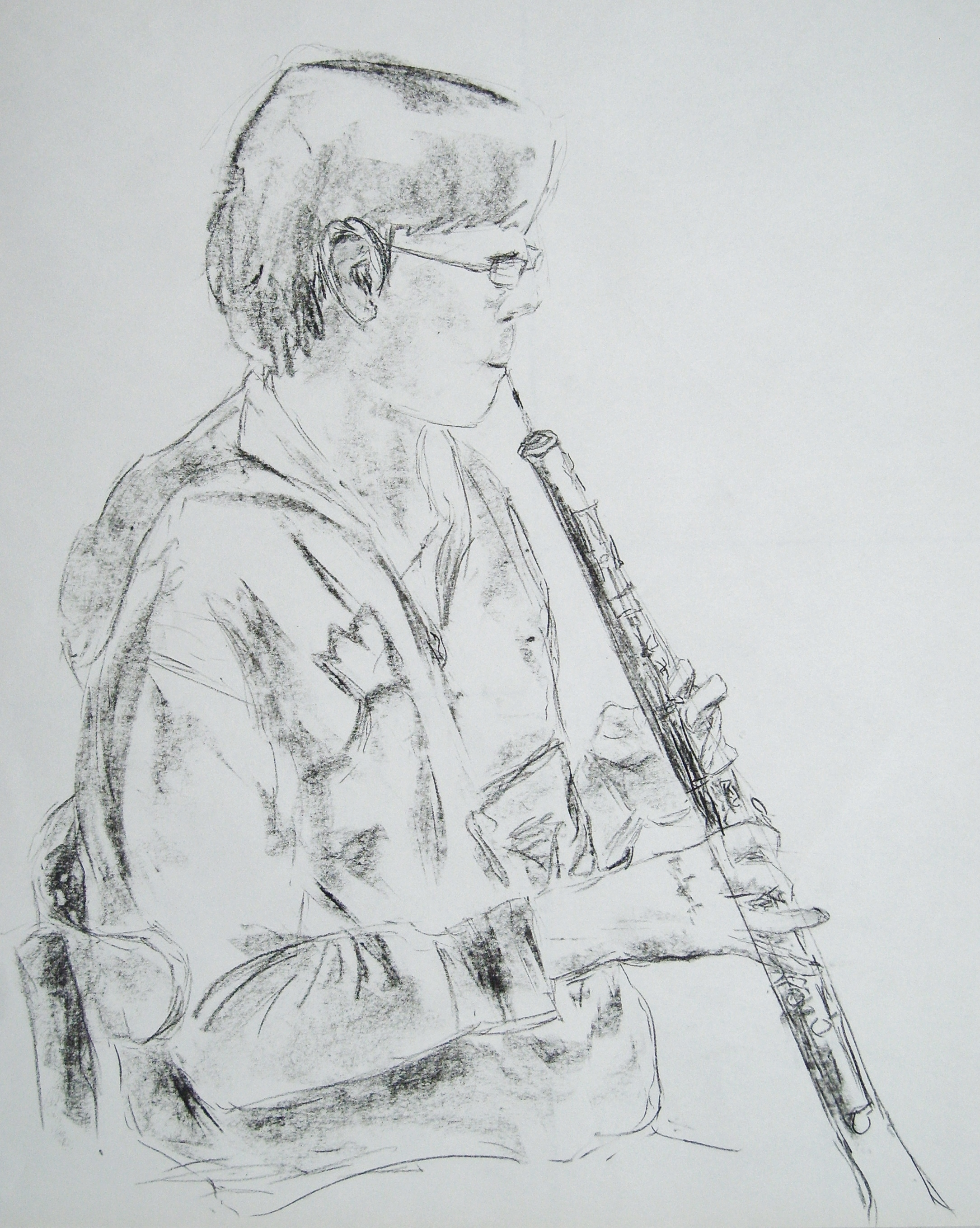 Julius playing the oboe